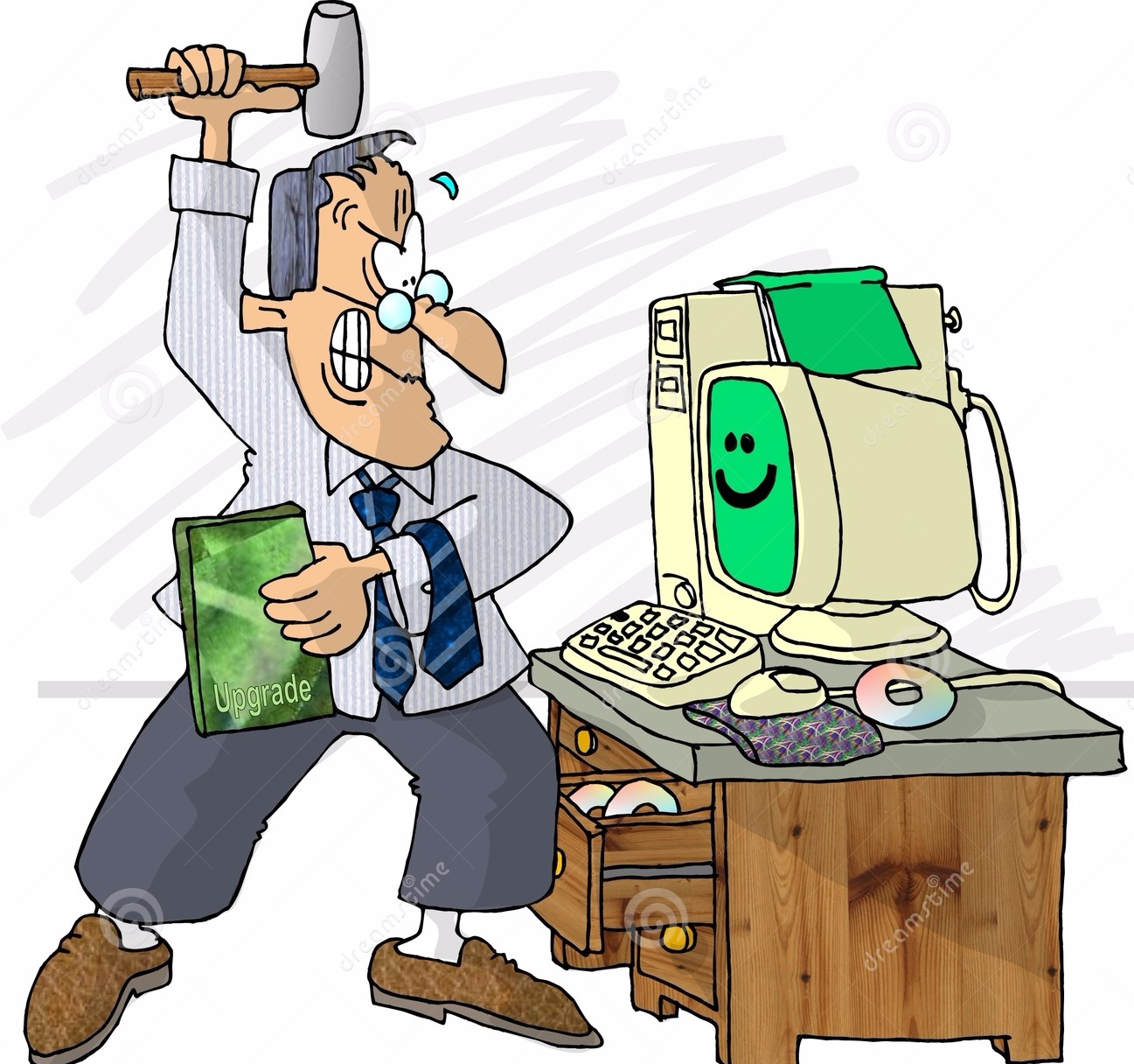 Cartoon image of man ready to hit computer with hammer