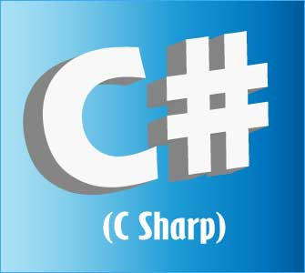Graphic image of 'C#' referring to the Microsoft-created programming language